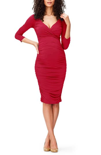 Vintage Style Maternity Clothes Womens Leota Evelyn Body-Con Maternity Dress Size X-Small - Red $94.80 AT vintagedancer.com
