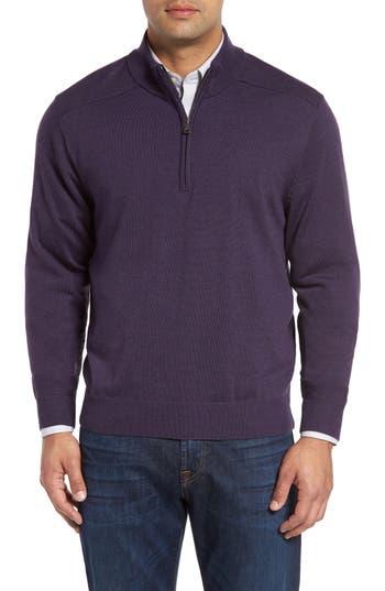 Big & Tall Cutter & Buck Douglas Quarter Zip Wool Blend Sweater, Purple