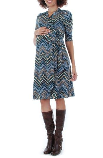 Women's Everly Grey Mila Wrap Maternity/nursing Dress, Size Large - Blue/green