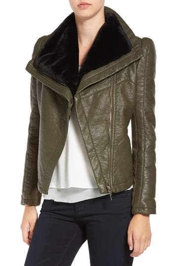 Women's Love Token Faux Leather Jacket With Faux Shearling Trim, Size X-Small - Green