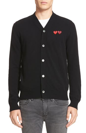 Comme Des Garcons Play Double Heart Wool Cardigan
