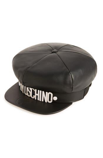 Women's Moschino Leather Cap - Black