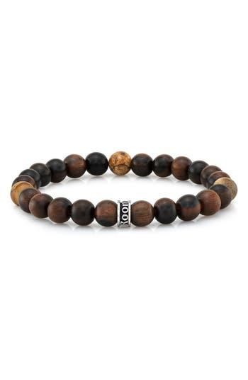 Men's Room101 Wood & Agate Bead Stretch Bracelet