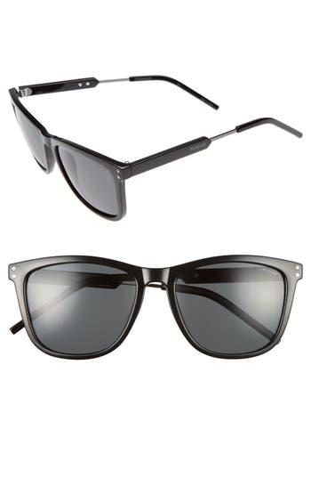 Men's Polaroid 55Mm Polarized Sunglasses - Shiny Black