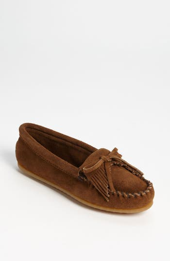 Women's Minnetonka 'Kilty' Suede Moccasin, Size 5.5 M - Brown