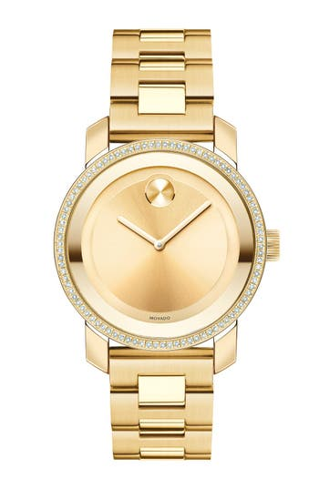 Women's Movado 'Bold' Diamond Bezel Bracelet Watch, 36Mm