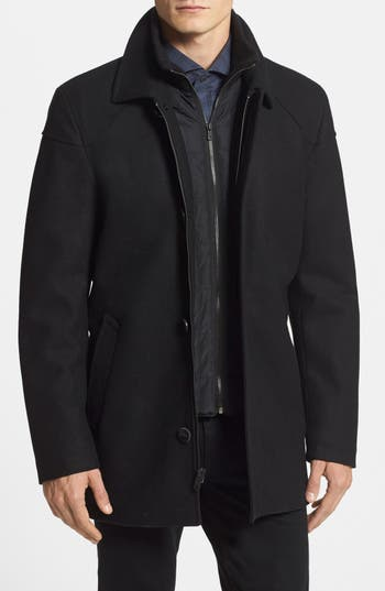 Vince Camuto Melton Car Coat With Removable Bib Nordstrom