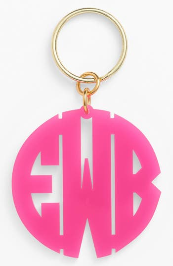 Women's Moon And Lola Personalized Monogram Key Chain - Pink