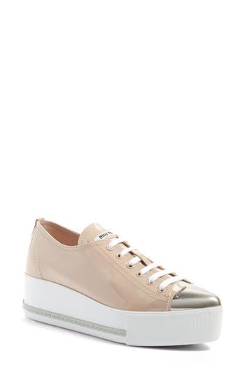 Women's Miu Miu Platform Pointy Cap Toe Sneaker