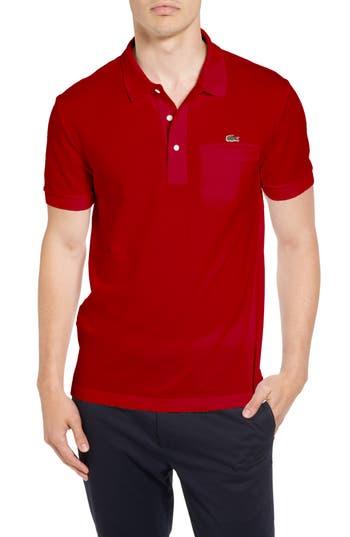 Men's Lacoste Regular Fit Pocket Pique Polo, Size 3(s) - Red