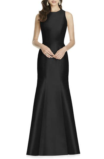 1950s Style Cocktail Dresses & Gowns Womens Alfred Sung Dupioni Trumpet Gown Size 8 - Black $231.00 AT vintagedancer.com