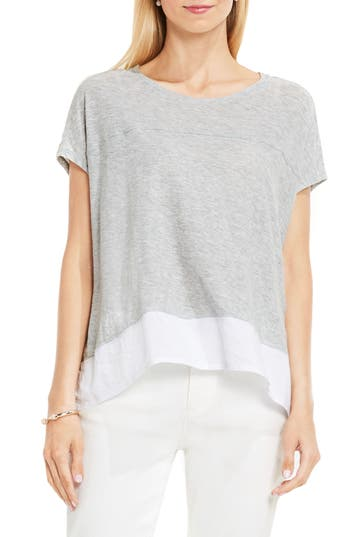Women's Two By Vince Camuto Chiffon High/low Hem Knit Tee