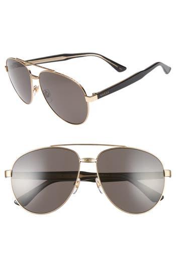 gucci 61mm aviator sunglasses. women\u0027s gucci 61mm aviator sunglasses - gold/ grey 61mm