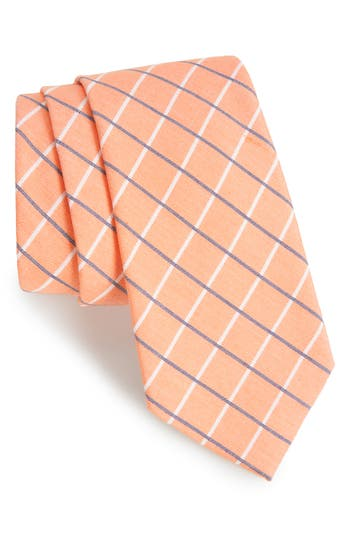 Men's Nordstrom Men's Shop Grid Cotton & Silk Tie, Size Regular - Orange
