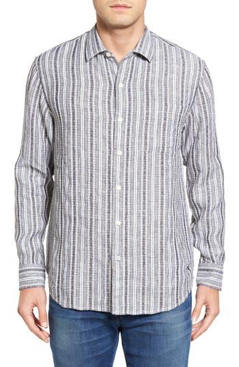 Men's Tommy Bahama Ricky Jacquardo Standard Fit Stripe Linen & Cotton Sport Shirt
