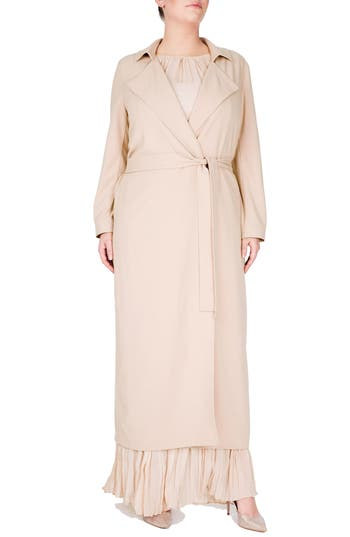 1920s Style Coats Plus Size Womens Elvi Long Trench Coat Size 20W US  24UK - Beige $119.40 AT vintagedancer.com