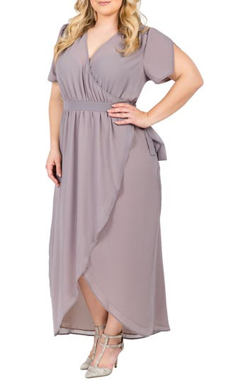 Plus Size Women's Standards & Practices Robin Wrap Maxi Dress, Size 2X - Grey