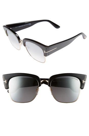 Tom Ford Dakota 55Mm Gradient Square Sunglasses - Shiny Black/ Smoke