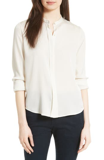 Women's Vince Stretch Silk Band Collar Blouse