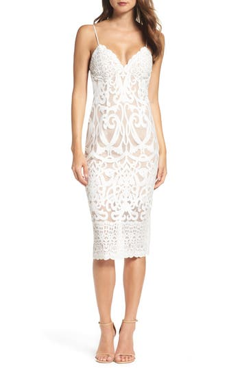 Women's Bardot Gia Lace Pencil Dress, Size Large - Ivory