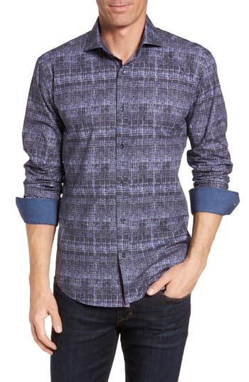 Men's Bugatchi Shaped Fit Abstract Print Sport Shirt