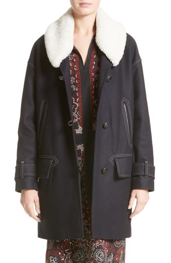 Belstaff Apsley Genuine Shearling Collar Wool Blend Coat, 8 IT - Blue