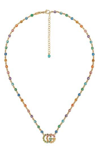 Women's Gucci Double-G Multistone Pendant Necklace