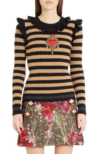 Women's Dolce & gabbana Heart Patch Stripe Wool & Cashmere Sweater, Size 8 US / 42 IT - Black