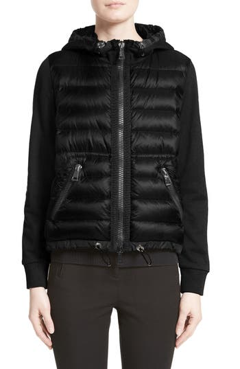 Moncler Quilted Front Hooded Jacket, Black