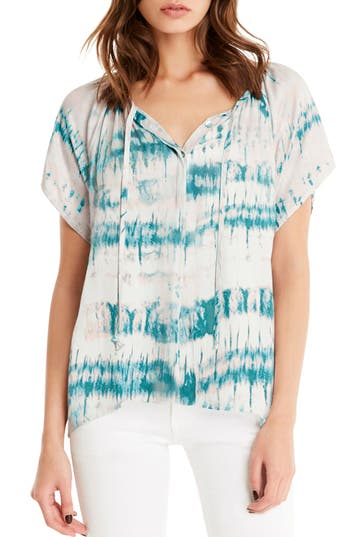 Women's Michael Stars Print Button Front Peasant Top, Size Small - Blue/green