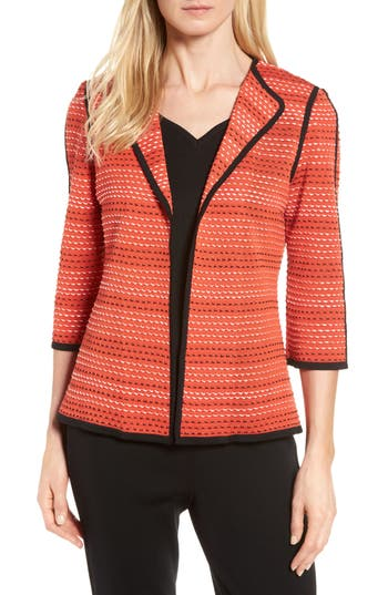 Women's Ming Wang Three-Quarter Sleeve Knit Jacket, Size Large - Red