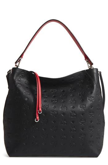 Mcm Klara Monogrammed Leather Hobo Bag -