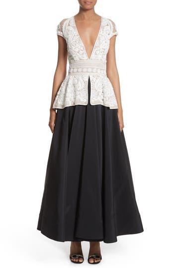 Vintage Inspired Wedding Dresses Womens Naeem Khan 2-Piece Look Peplum Gown Size 6 - Black $6,990.00 AT vintagedancer.com