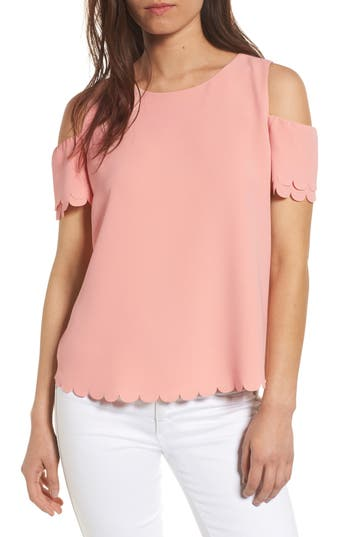 Women's Cooper & Ella Mila Scallop Cold Shoulder Top, Size X-Small - Pink