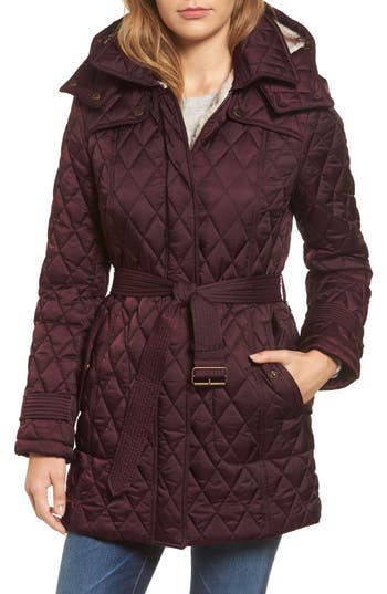 Women's London Fog Quilted Coat With Faux Shearling Lining, Size X-Small - Burgundy