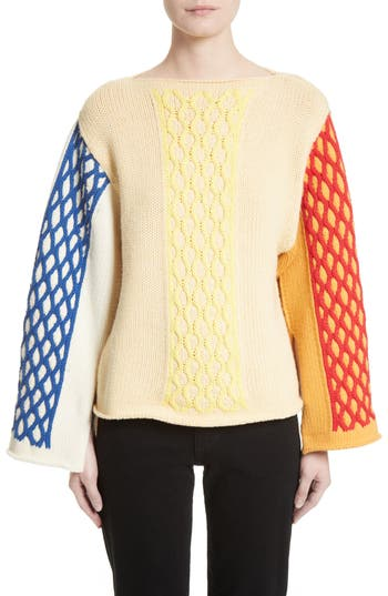 Women's J.w.anderson Multicolor Cable Knit Sweater, Size Medium - Yellow