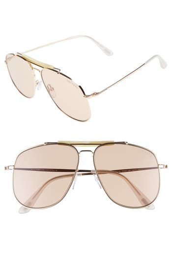Women's Tom Ford Connor 58Mm Aviator Sunglasses - Shiny Rose Gold/ Violet