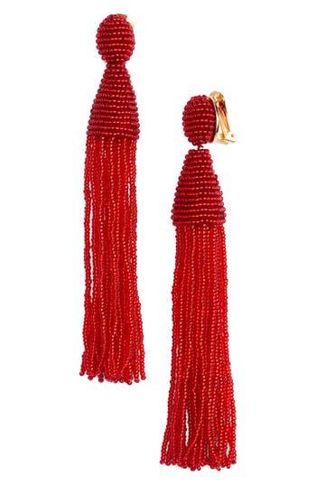 Women's Oscar De La Renta Long Tassel Drop Clip Earrings
