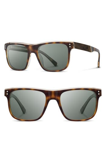 Shwood Monroe 55Mm Polarized Sunglasses - Brindle/ Elm/ G15Pol