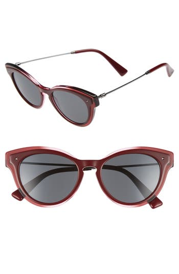 Women's Valentino 51Mm Cat Eye Sunglasses - Clear/ Red