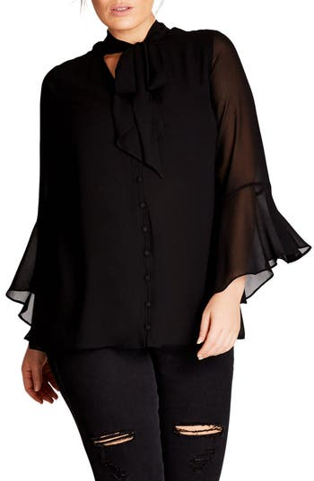 1930s Style Tops, Blouses & Sweaters Plus Size Womens City Chic Sweet Dreams Top Size Medium - Black $69.00 AT vintagedancer.com