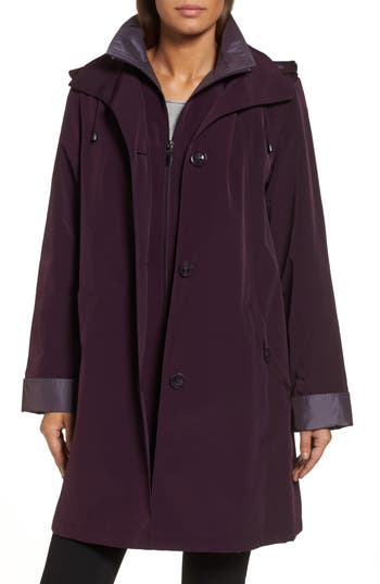 Women's Gallery A-Line Raincoat With Detachable Hood & Liner, Size Small - Red