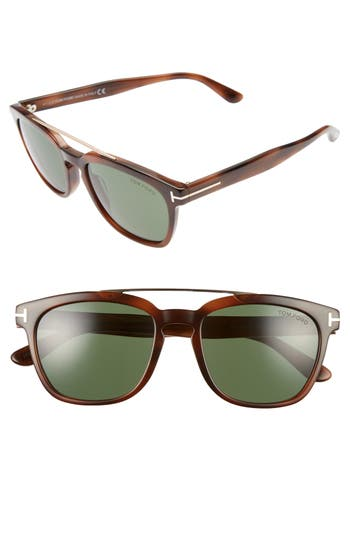 Women's Tom Ford 54Mm Double Brow Bar Sunglasses - Havana/ Rose Gold/ Polar Green