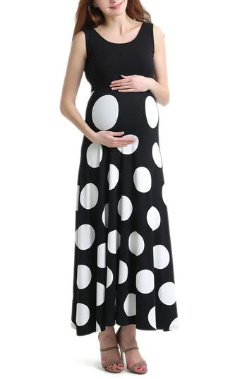 Vintage Style Maternity Clothes Womens Kimi And Kai Courtney Polka Dot Maternity Maxi Dress Size Small - Black $88.00 AT vintagedancer.com