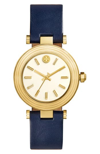 Women's Tory Burch Classic-T Leather Strap Watch, 36Mm
