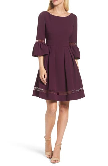 Eliza J Bell Sleeve Dress, Purple
