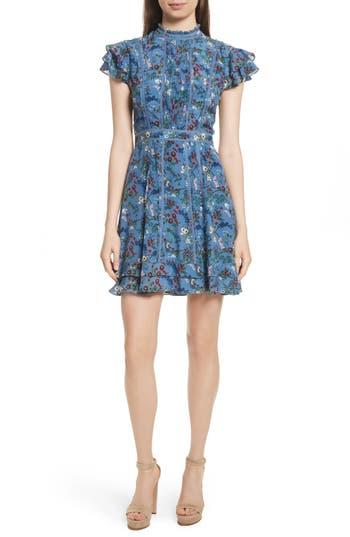 Women's Alice + Olivia Marta High Neck Floral Silk Dress