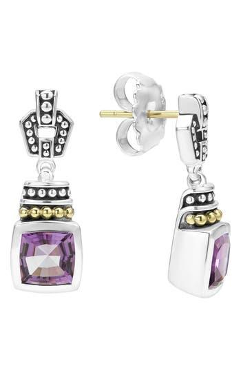 Women's Lagos 'Caviar Color' Square Semiprecious Stone Drop Earrings