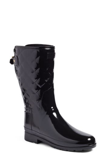 Hunter Refined High Gloss Quilted Short Rain Boot, Black