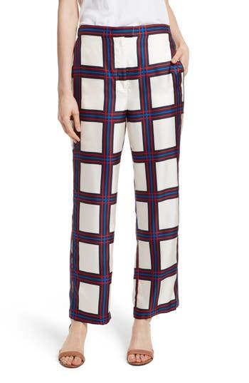 Women's Tory Burch Harper Plaid Silk Pants, Size 0 - Blue